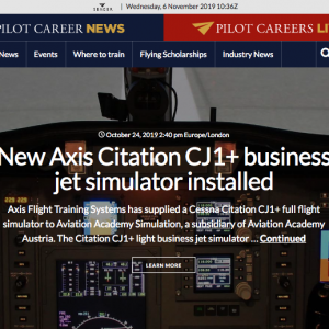 New Axis Citation CJ1+ business jet simulator installed